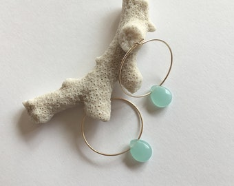 """Hoop earrings gold, thin and lightweight, faceted chalcedony stones: model """"Ignès"""""""