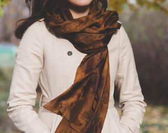 brown silk scarf for women / brown silk shawl for women  /  large brown silk wrap for women / long brown silk scarf for momValentine's gift