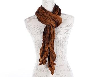 Golden brown silk wrinkled scarf / brown wrinkle silk scarf for women /  No iron brown ruffled silk scarf  / 100% habotai silk/ Shibori