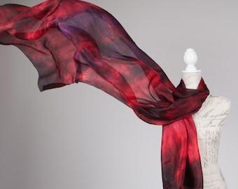 Oversized silk scarf / Dark Burgundy silk scarf /boho fashion scarf / wedding silk scarf / silk scarf for wife / fall colour scarf