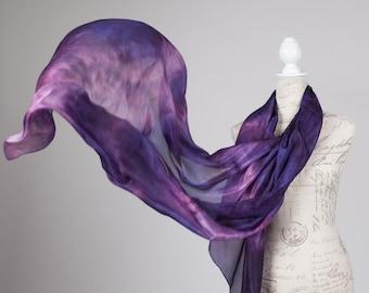 Aubergine silk scarf /purple and pinksilk  scarf/ purple scarf/ Hand dyed / 100% habotai silk / scarves for women/ scarves for women