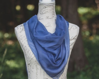 Large dusty navy blue square silk scarf, navy Silk Chiffon square, navy square silk, bathing suit sarong, 90's style top