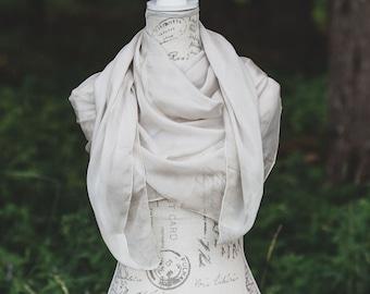 cream silk chiffon square scarf, large square scarf, cream silk, shibori scarf, bathing suit sarong, 90's style top, tie dye