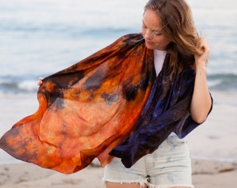 Navy and rust silk scarf for her / Orange and blue silk scarf / scarf for women /  large evening silk veil / scarves for women