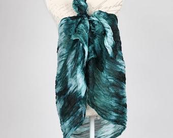 green silk scarf, beach cover up, Kimono boho, Long green scarf