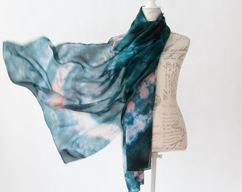 Teal and salmon silk scarf, Blue green silk scarf for her, lightweight scarf
