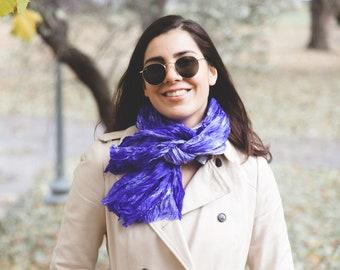 Violet gift scarf / boho violet scarf / ruffled silk scarf for women / purple silk scarf / travel scarf /  No iron purple ruffled silk scarf