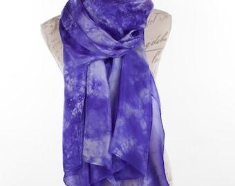 Violet silk scarf /  mauve silk shawl   /  large purple silk sarong / Hand dyed / 100% habotai silk / scarves for womenValentine's gift