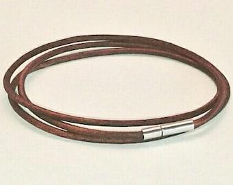 Pandora-style leather charm bracelet magnetic bayonet clasp. Fits Thomas sabo,pandora, European charms. Double/triple wrap in vintage brown