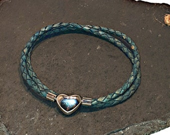 fd7fa9764 Pandora-style leather wrap charm bracelet. Double wrap braided leather.  Clip clasp. Fits Pandora, Thomas sabo and European charms.