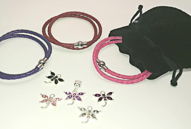 64d461c7d Pandora-style leather wrap charm bracelet with dragonfly | Etsy