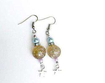 Stars and Flowers Dangle Earrings, Summer Long Festival Earrings, Witchy Earrings, Boho Earrings, Stainless Steel Hooks, Gift for Her