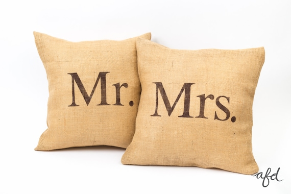 Mr And Mrs Pillows Burlap Rustic Wedding Throw Pillows Etsy Unique Mr And Mrs Decorative Pillows