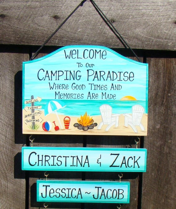 Welcome To Our Beach House Sign: Custom Welcome To Our Camping Paradise Beach Sign Home