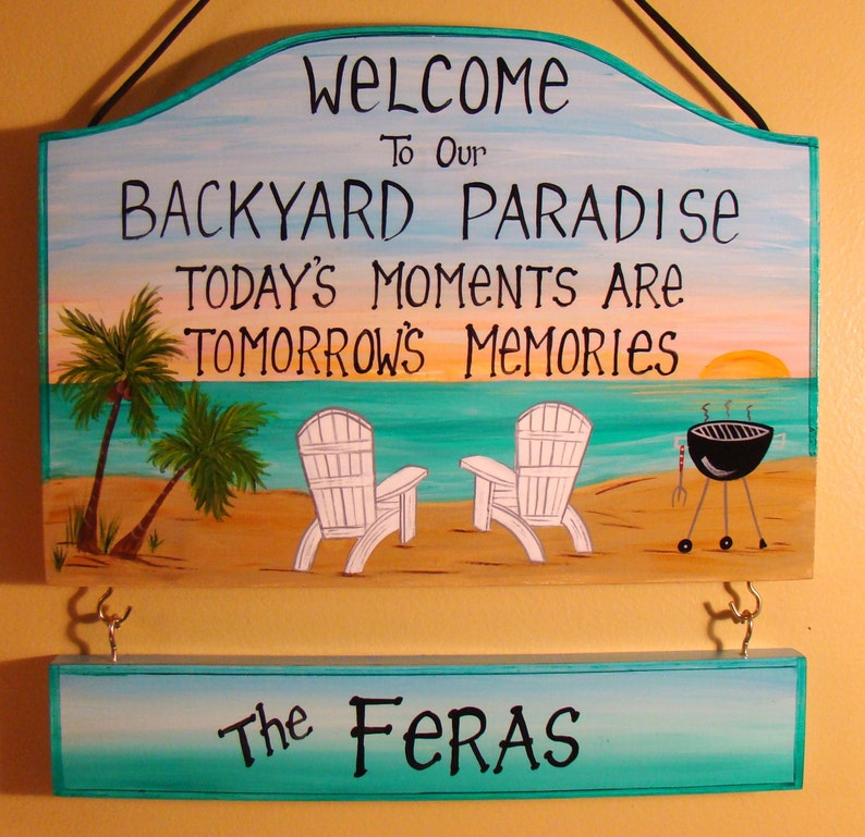 Hand Painted Designed Custom Backyard Paradise Patio Home Beach  Personalized Signs Sunset Palm Trees Grill Grillin Family Name