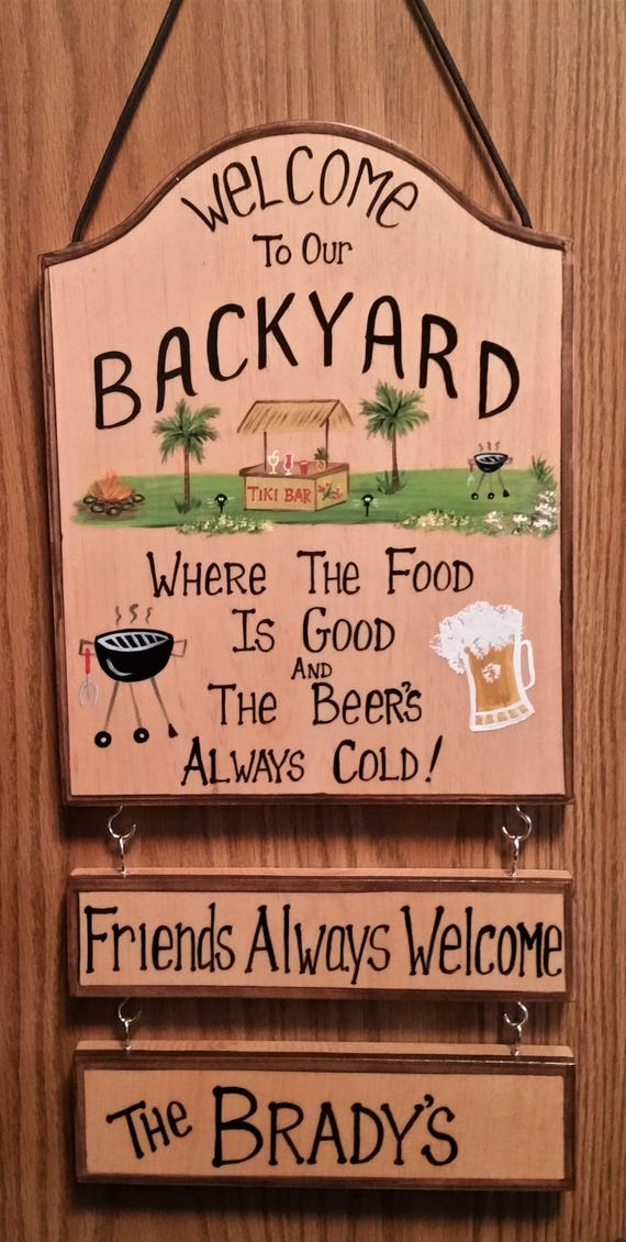 Personalized Welcome to our Backyard Tiki Hut Bar Picnic ...