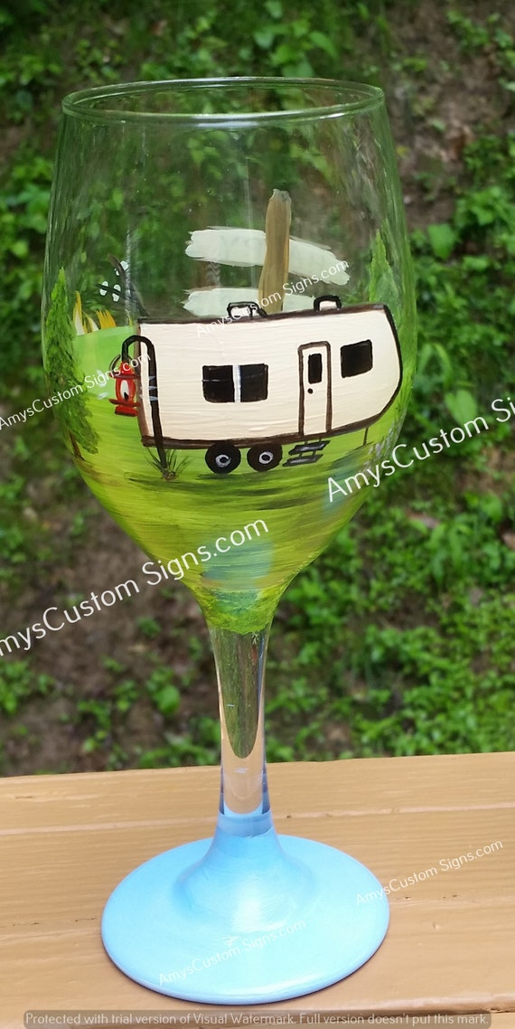 Super Cute Hand Painted Wine Vino Glass Beautiful Camp Camper Rv Motorhome Themed Camping Design Personalized With Your Name Great Gift