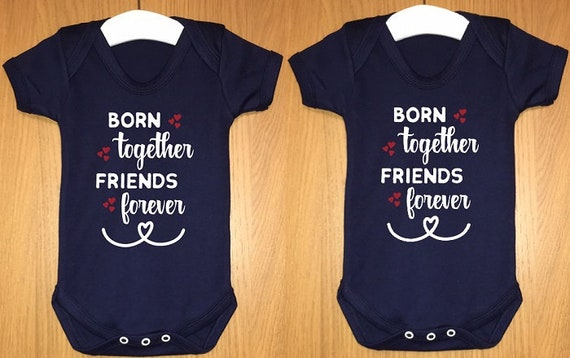 siblings baby body vest brother Twins love sister Born Together Friends Forever multiple birth bodysuit