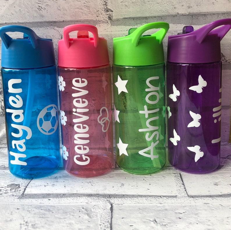 b1d9a181ad Personalised Kids Drinks Bottle 400ml Flip Top Straw   Etsy