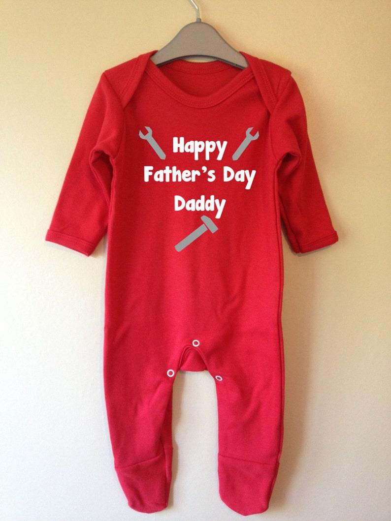 Custom notre premier Père/'s Jour Rouge Long rompersuit Baby Grow Body Pères