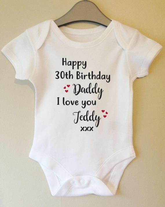Boys Dad Son 30th 40th Newborn New Gift Happy Birthday Daddy Baby Vest Grow