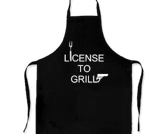 License to grill - apron - kitchen - cooking - novelty item - Barbeque - Barby - Bar-b-q - James Bond - license to kill