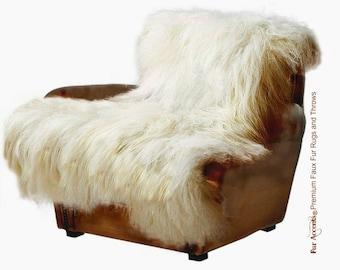 Shaggy Mongolian Sheepskin Faux Fur Throw Blanket - Long Hair Icelandic Sheep - Accent Throw - Rectangular - Fur Accents Designer Home Decor
