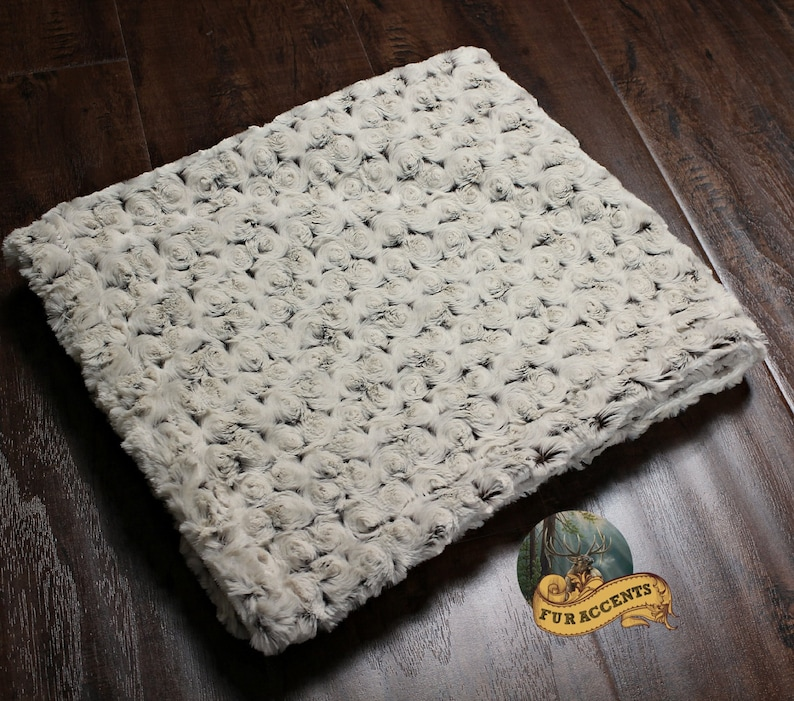 Taupe Rosebud Minky Cuddle Fur Bedspread Throw Blanket Taupe and Ivory Minky Lining REVERSIBLE - Chenille
