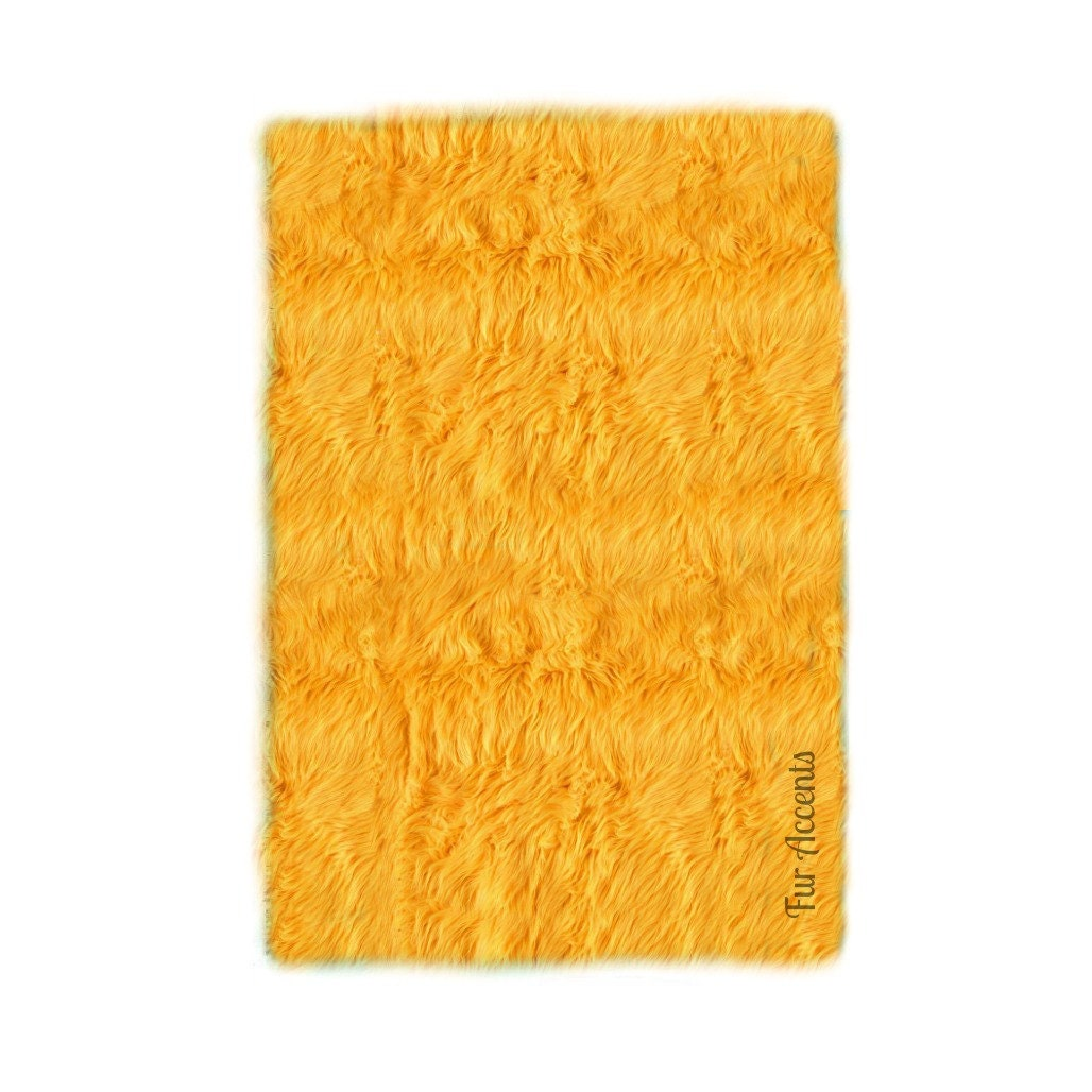 Premium Faux Fur Throw Rug Shaggy Rectangle Plush Accent