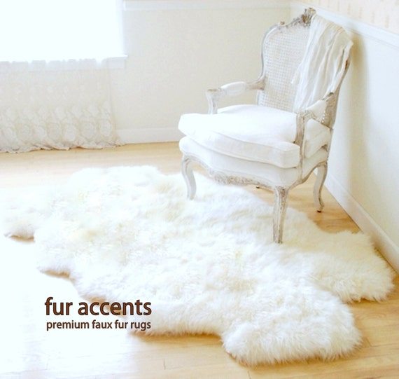 Plush Throw Rug: NEW / Shaggy White Area Carpet / Accent Throw Rug / Plush
