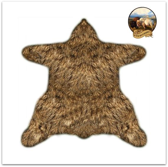 Piel de oso lanudo alfombra Premium piel sintética acento | Etsy