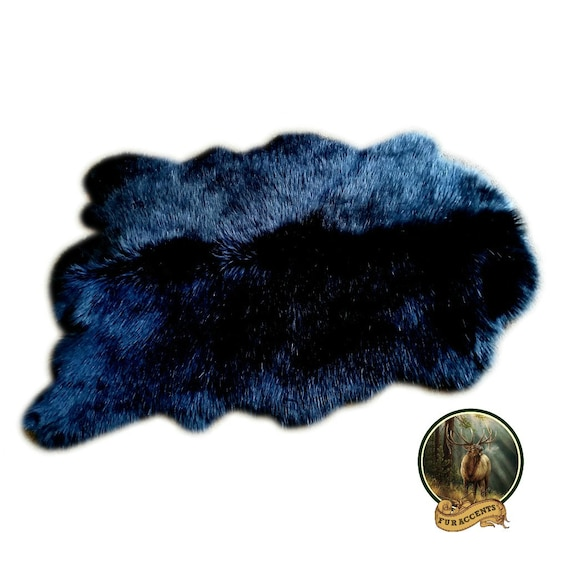 Shaggy Shag Faux Fur Area Throw Rug Black Deer Skin Bear