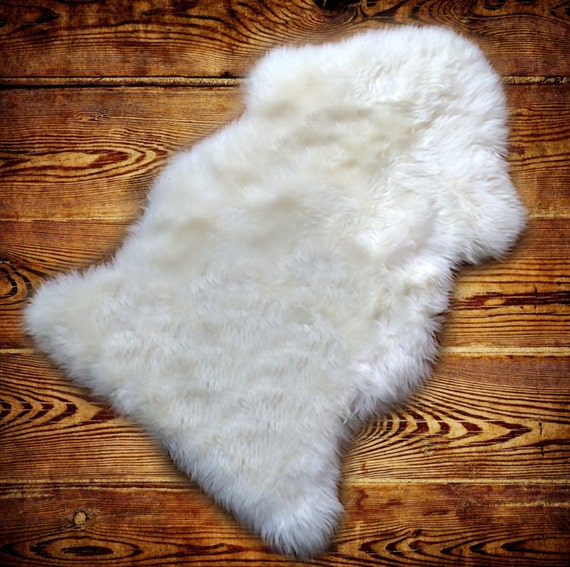 Shaggy Faux Fur Sheepskin Throw Rug White Shag Fake Sheep