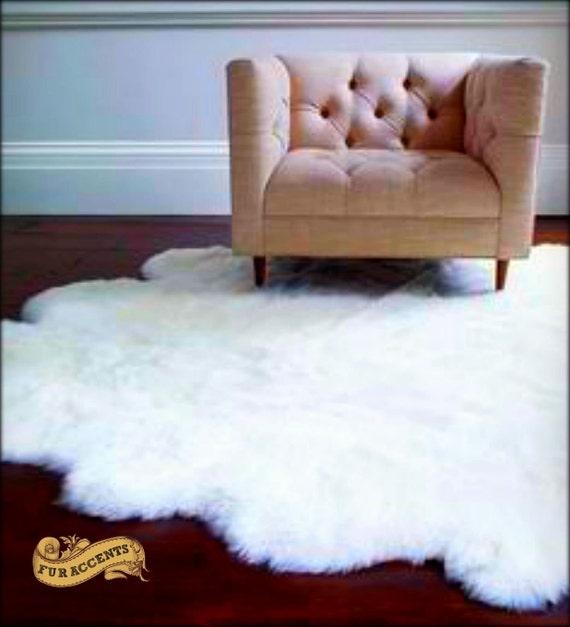 NEW Scalloped Faux Sheepskin Area Rug Throw Carpet Plush Fur