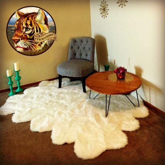 Shaggy Faux Fur Area Throw Rug Faux Flokati Sheepskin Area