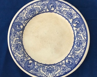 Stoneware Hungarian Zsolnay Pottery Ceramic Plate -  Blue and White Traditional Pattern Display Collection Kitchen Dining