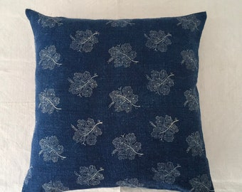 Vintage Hungarian Hand Spun Indigo Grapeleaf Design Linen Cushion Pillow COVER ONLY