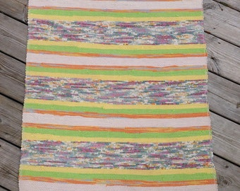ERR1504 Long 2.84m Vintage Handmade Swedish Rag Rug in Tutti Fruiti Yellow Lime Green Pinks