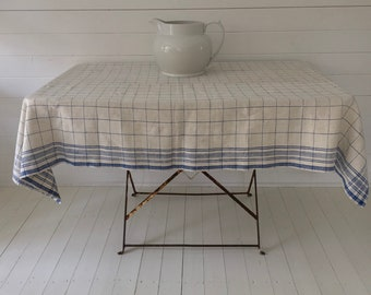 Blue Checked Stripe Tablecloth Linen for Cafe Tables