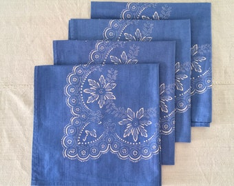 Hand Blocked and Hand Blue Dyed Fine Cotton Napkin Fine Dining Inside Or Outside