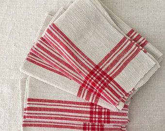 Red Stripe Tea Towel Linen Vintage Fabric Handmade Linen