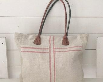 Upcycled Pink Stripe Handbag Pocket Vintage Hungarian Striped Linen Green and Pink Leather Straps Pockets Organiser Hand Bag