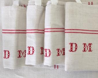 NTT 1306 Red Stripe Tea towel Linen for with 'DM' Monogram