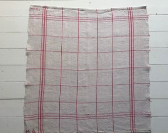 Pink Stripe Tea towel Linen for with 'MA' Monogram