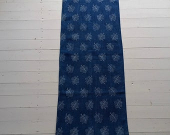DNS1879 Indigo Blue Grain Sack Grape Leaf Vintage Linen Grainsack