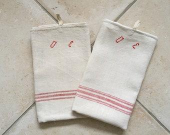 Red Stripe Tea Towel Linen for with 'OE' Monogram NTT 2009