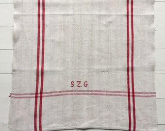 NTT1910 Red Stripe Tea Towel Linen for with 'SZG' Monogram Vintage Fabric Handmade Linen