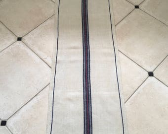 NS1572 Blue and Red Stripe Twill Natural Sandstone Vintage Linen Grainsack