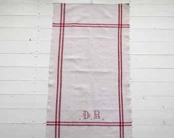 NTT1905 Red Stripe Tea Towel Linen for with 'DR' Monogram