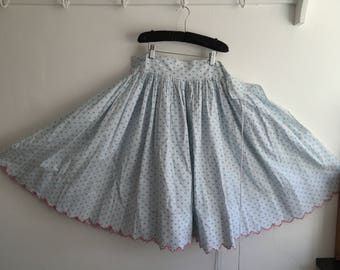 Vintage Cotton Green and White Polka Dot Circle Skirt